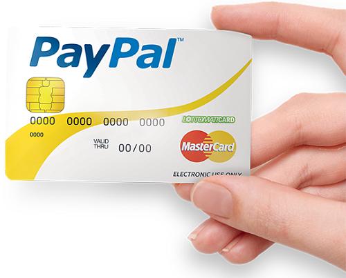 Paypal prepagata, esempio di carta fisica