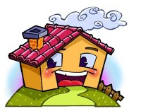 casa sorridente con caminetto