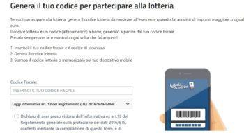 richiesta codice lotteria