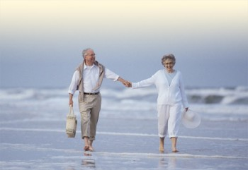 andare in pensione prima? Pensione anticipata (2 anziani sulla spiaggia, si tengono per mano)
