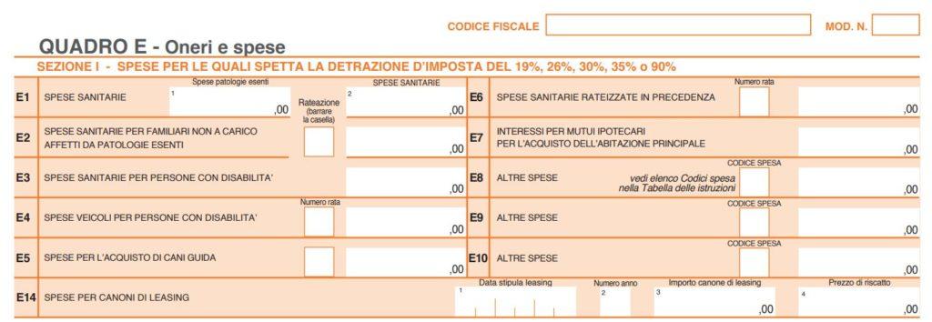 quadro RE 1024x354 - Farmaci online: detrazione fiscale 730 come si effettua